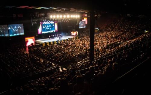 Estadio Luna Park a pleno en la final del Campeonato Mundial de Baile de Tango en la categoría Pista