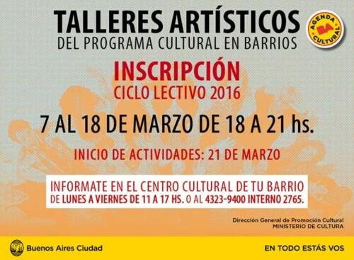 Talleres Artísticos Barriales Gratuitos 2016